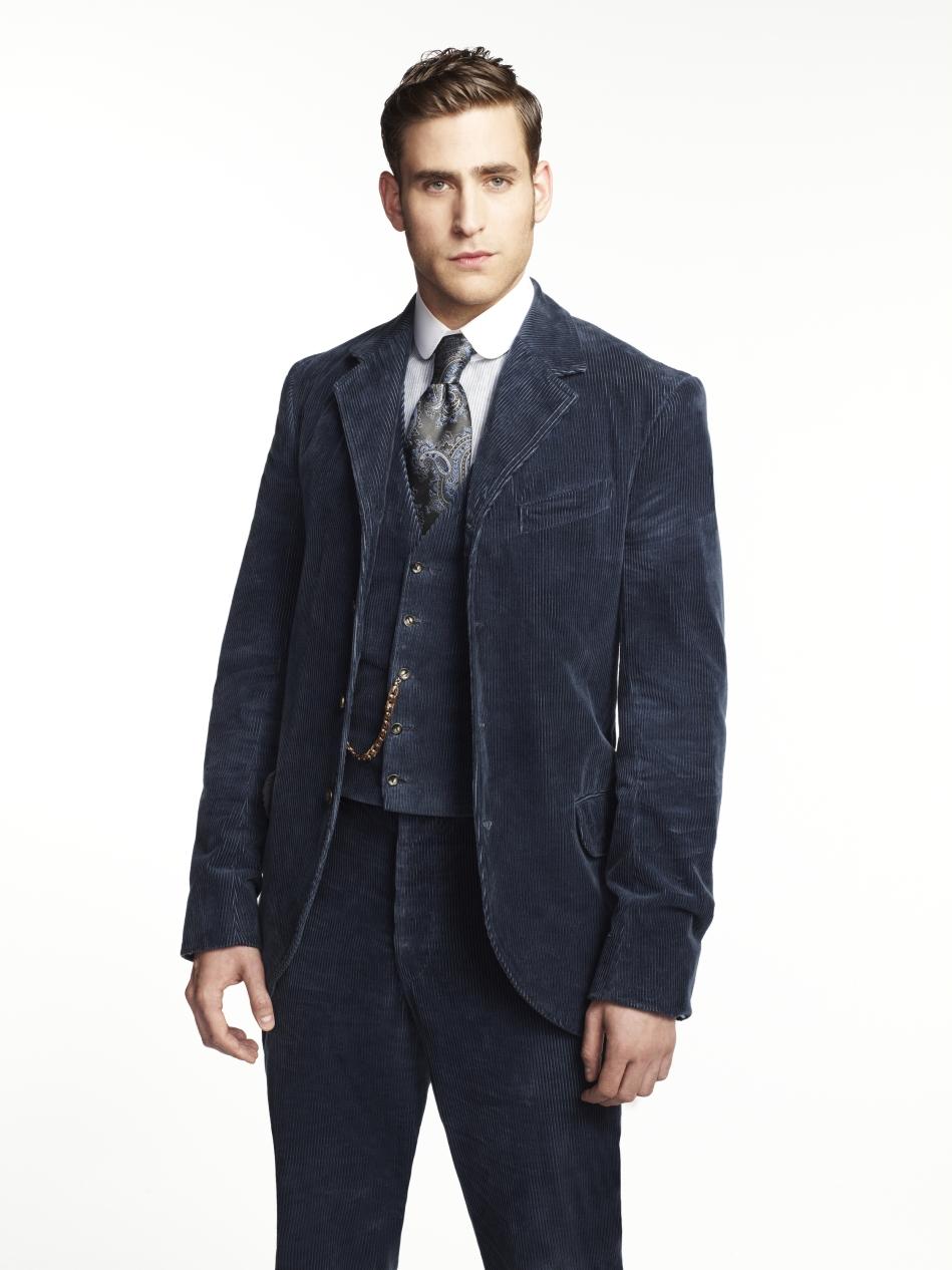 Harker looks amazing in his blue velveteen suit