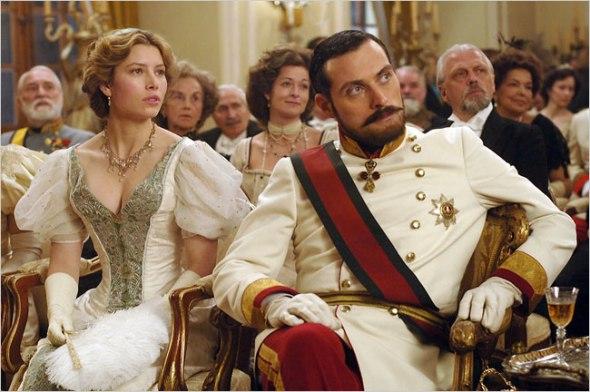 Sophie (Biel) and Leopold (Sewel) watching Eisenheim