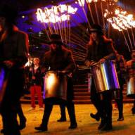Percussionists marching to a steampunk beat