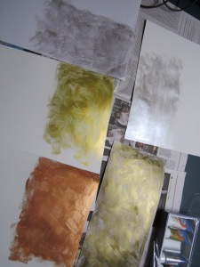 Painted paper waiting to dry
