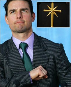 "Tom Cruise ""saluting"" the symbol of Scientology, which is inexplicably a cross"