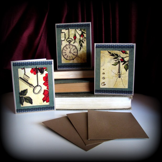 set of 3 coordinated cards with chain embellishment