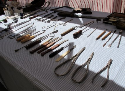 A display of medical instruments at Gold Rush Days