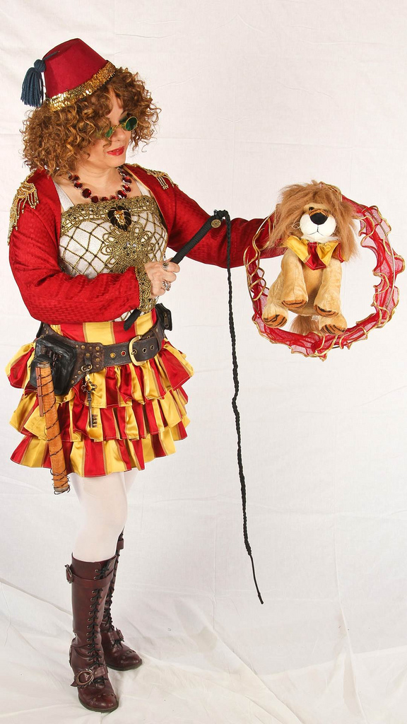 She made this Steampunk lion tamer outfit from a tablecloth!!!